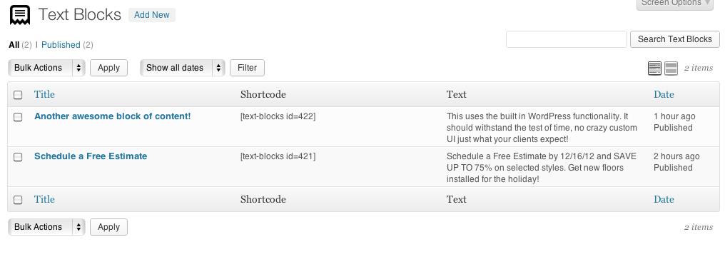 Reusable Text Blocks List View