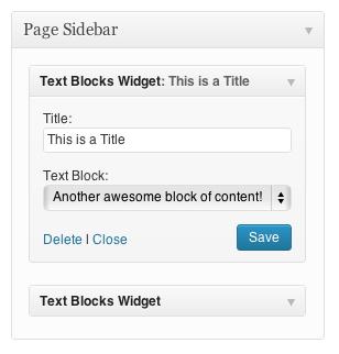Reusable Text Blocks Widget